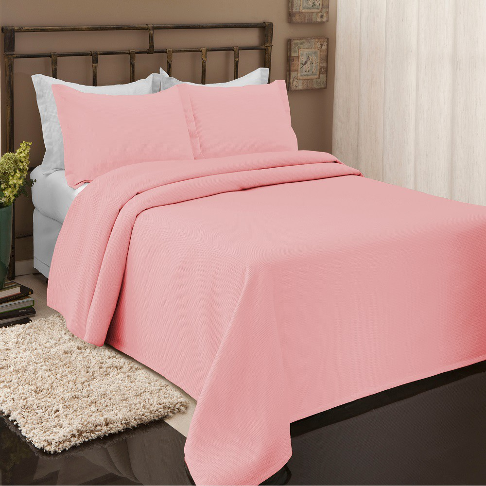 Colcha Piquet Favo Queen Lisa Beca Decor 2,40x2,60m Rosa