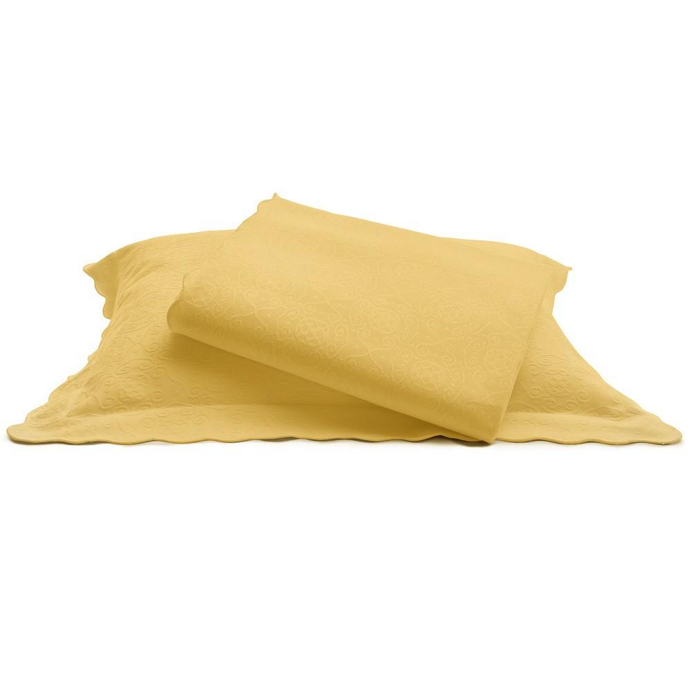 Colcha Piquet Queen Tognato Capela 100% Algodão Amarelo Curry