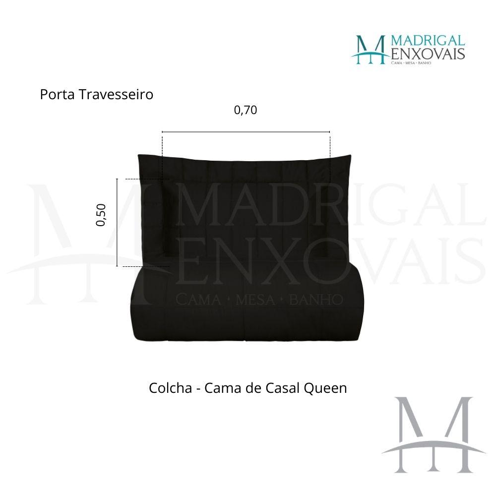 Colcha Queen 300 Fios Kacyumara Square 03 Peças Preto