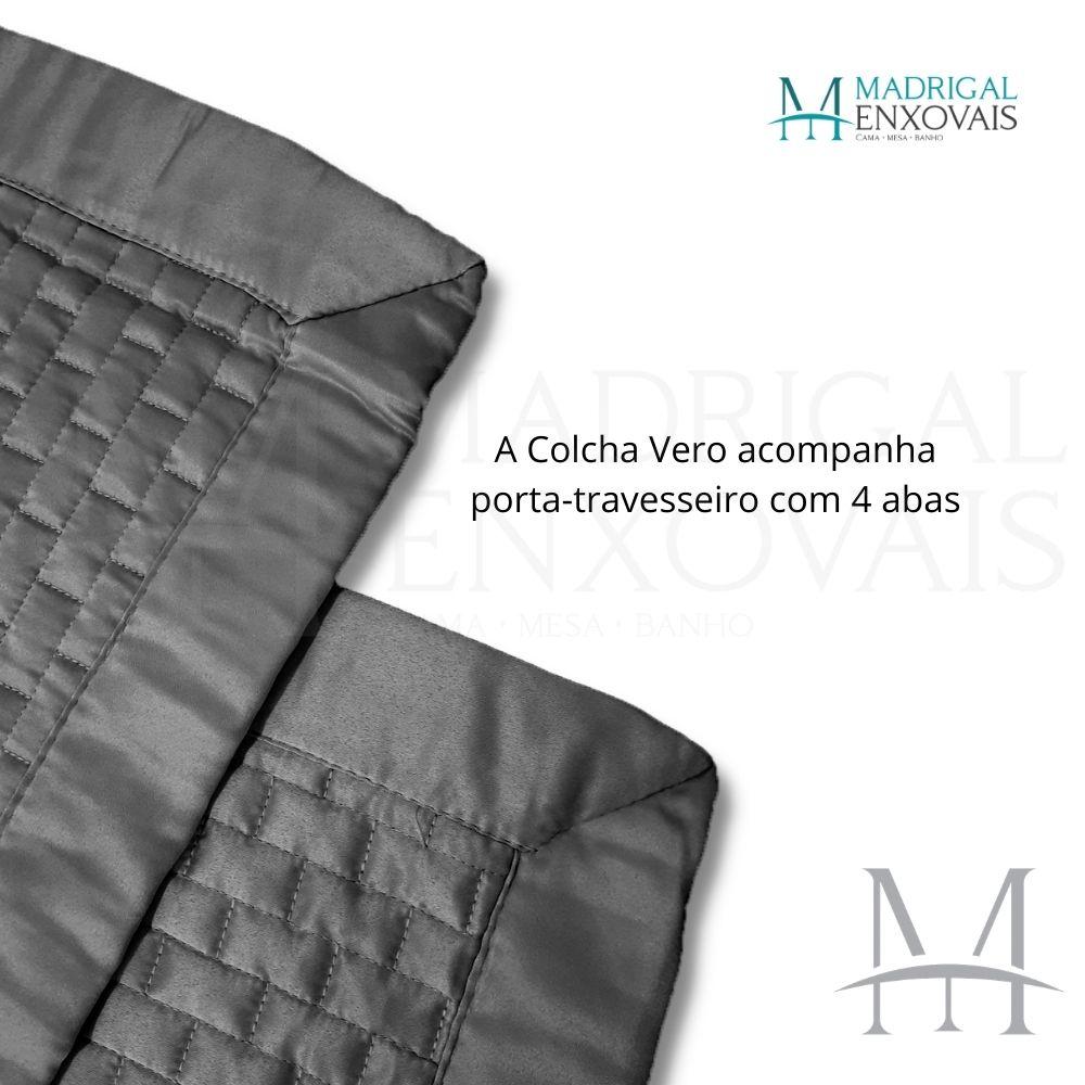 Colcha Queen Kacyumara Tacto Vero Toque de Seda 03 Peças Chumbo