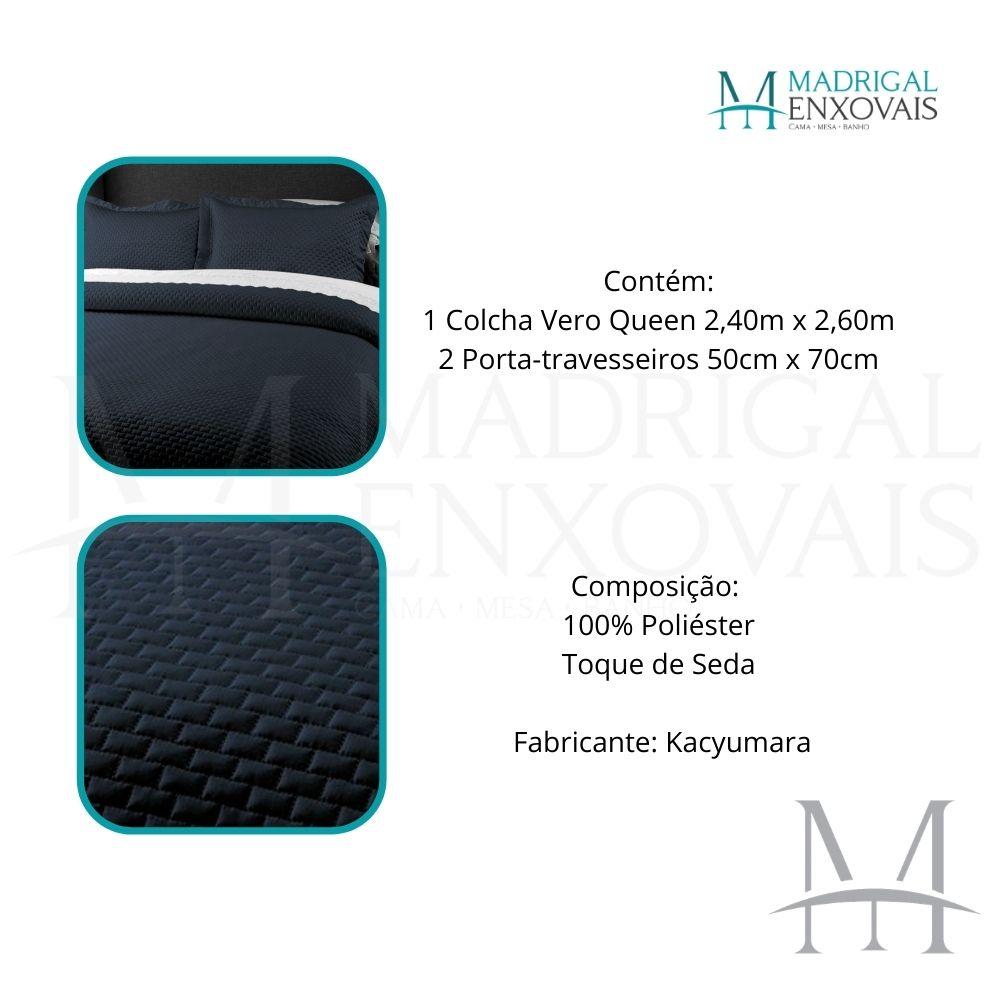 Colcha Queen Kacyumara Tacto Vero Toque de Seda 03 Peças Marinho