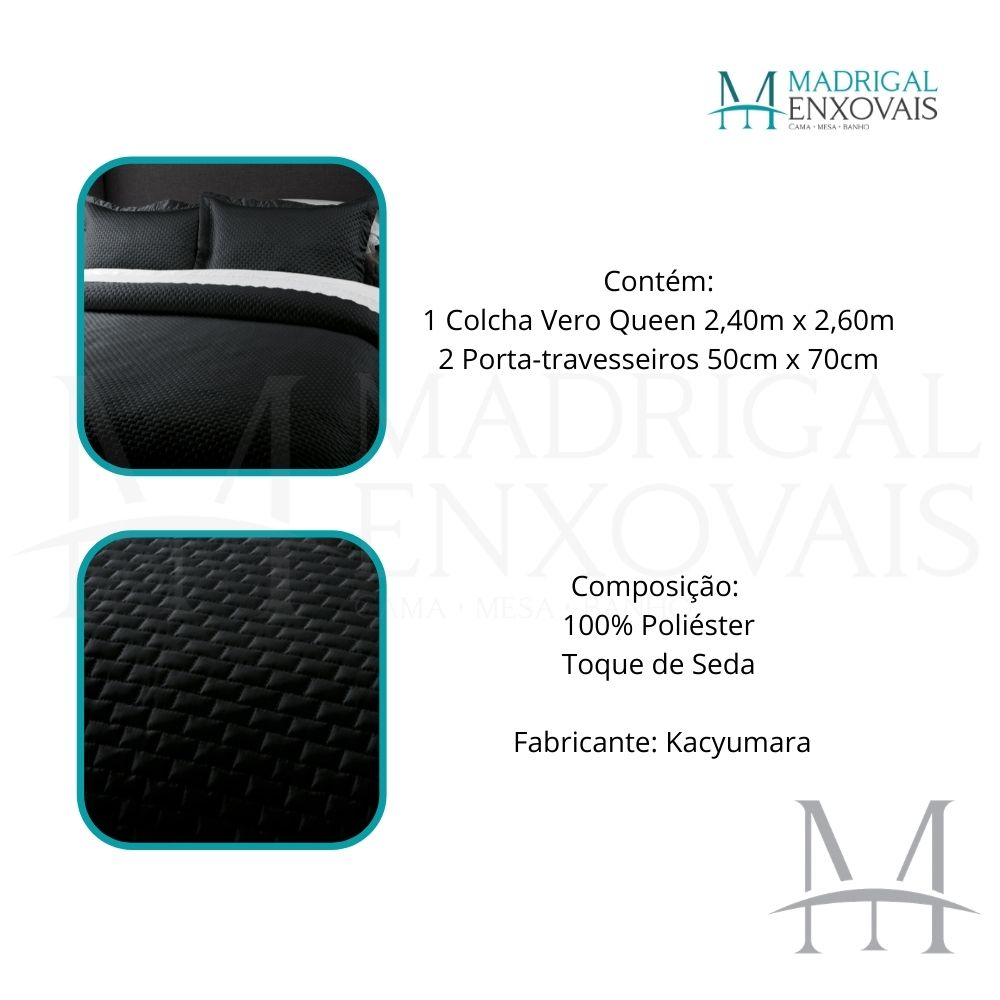 Colcha Queen Kacyumara Tacto Vero Toque de Seda 03 Peças Preto