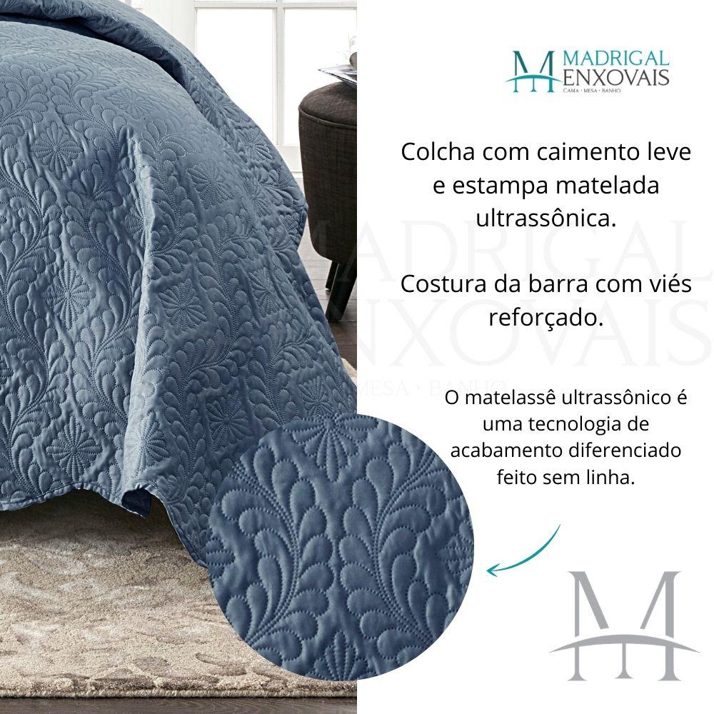 Colcha Queen Patchwork Corttex 03 Peças MILÃO #3 Lisa Azul