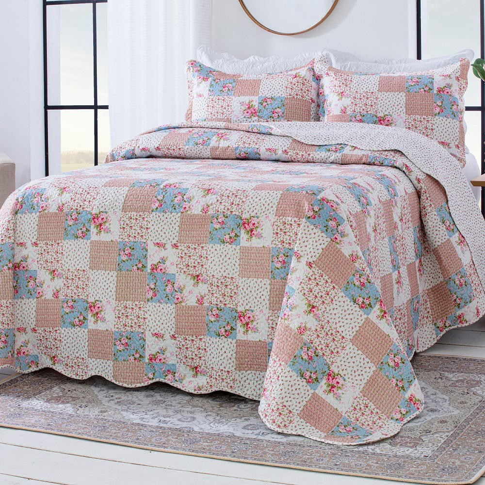 Colcha Queen Patchwork Corttex Paris Color 03 Peças Anne