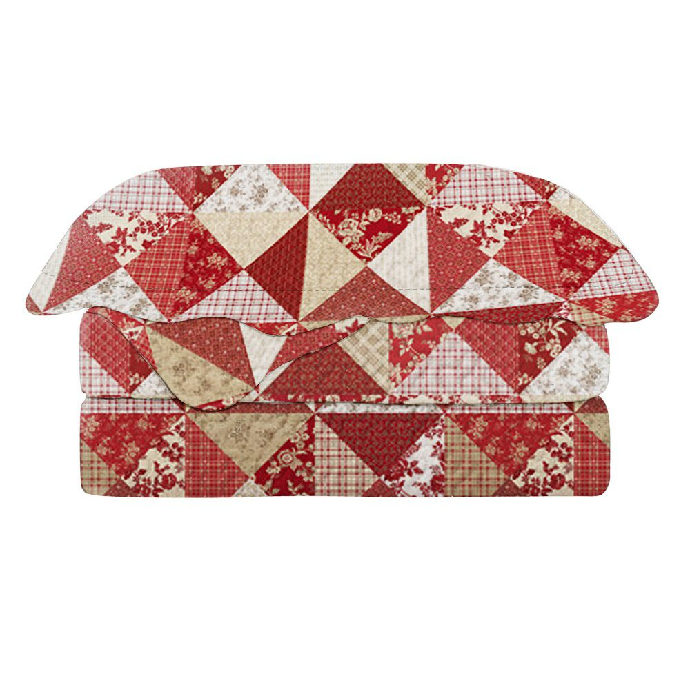 Colcha Queen Patchwork Evolution Camesa 03 Pçs Cerise