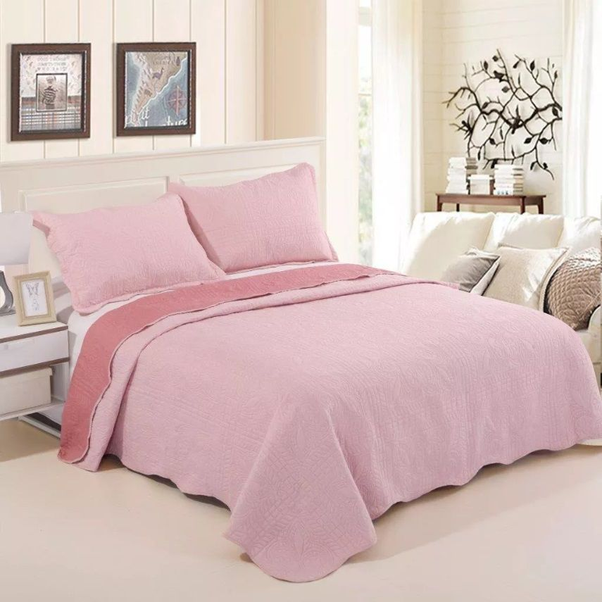 Colcha Queen Patchwork Lisa Ultrasonic Sultan 03 Pçs Rose