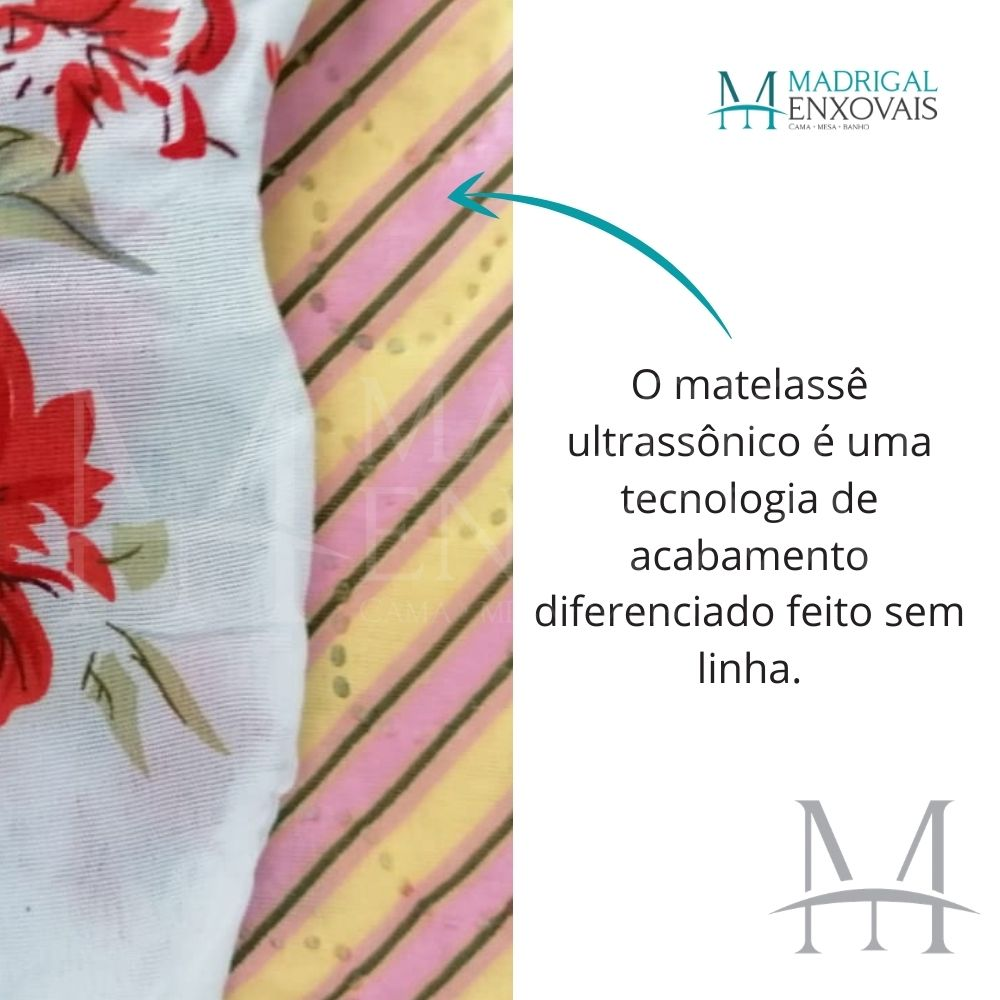 Colcha Queen Patchwork Ultrasonic Dyuri 03 Peças Janauba