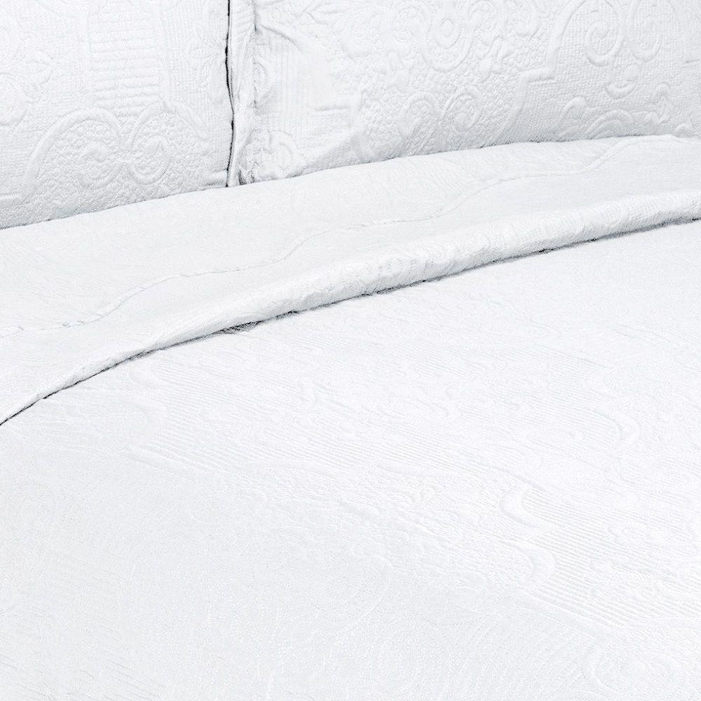 Colcha Queen Ultrasonic Camesa Barroque 03 Peças Branca