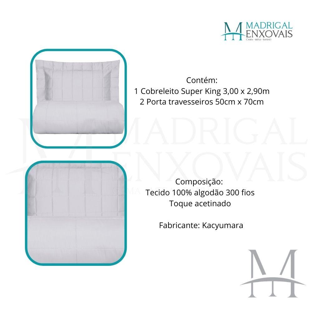 Colcha Super King 300 Fios Kacyumara Square 03 Peças Branco