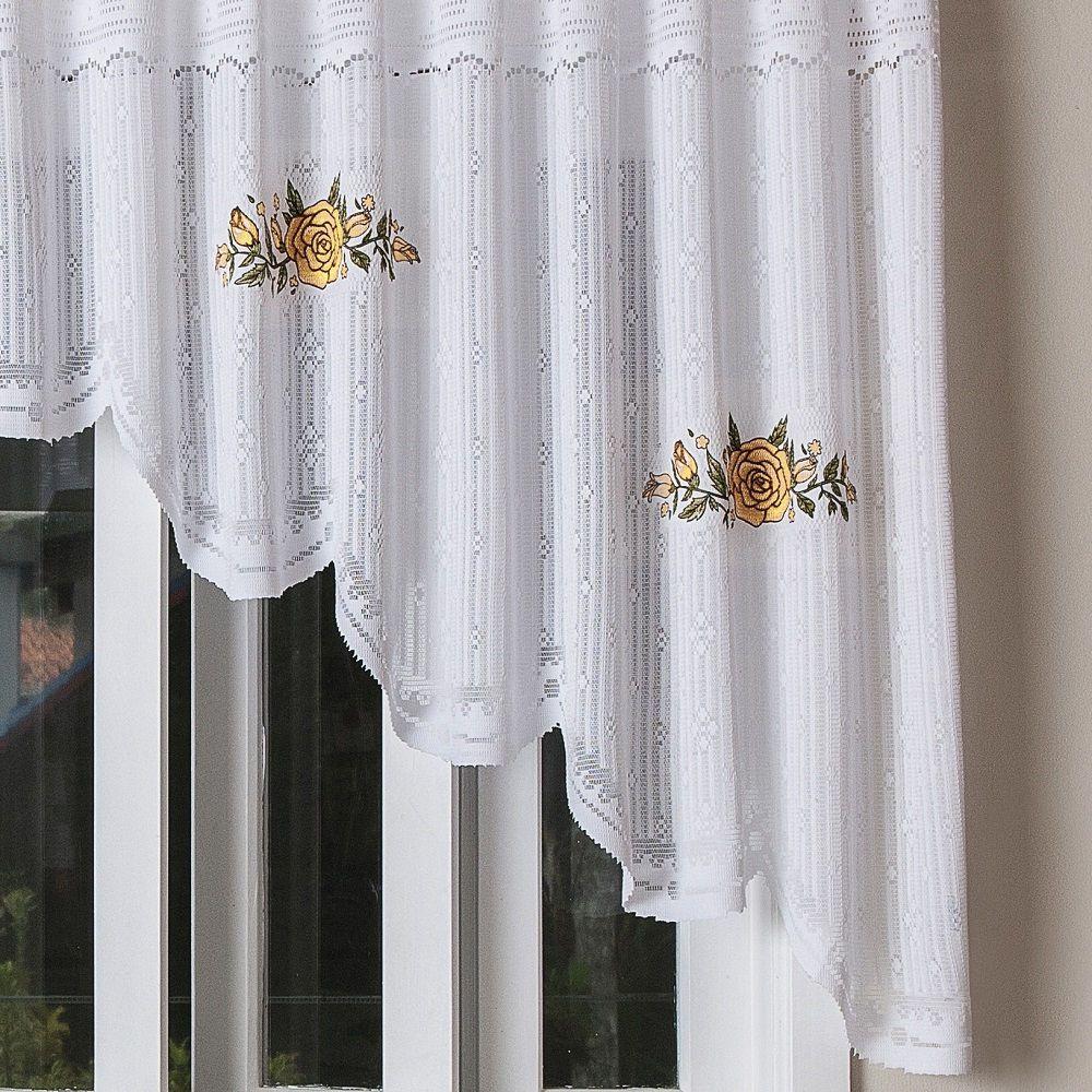 Cortina Cozinha Cascata Renda Branca Premium 3,00x1,00m Floral Amarela
