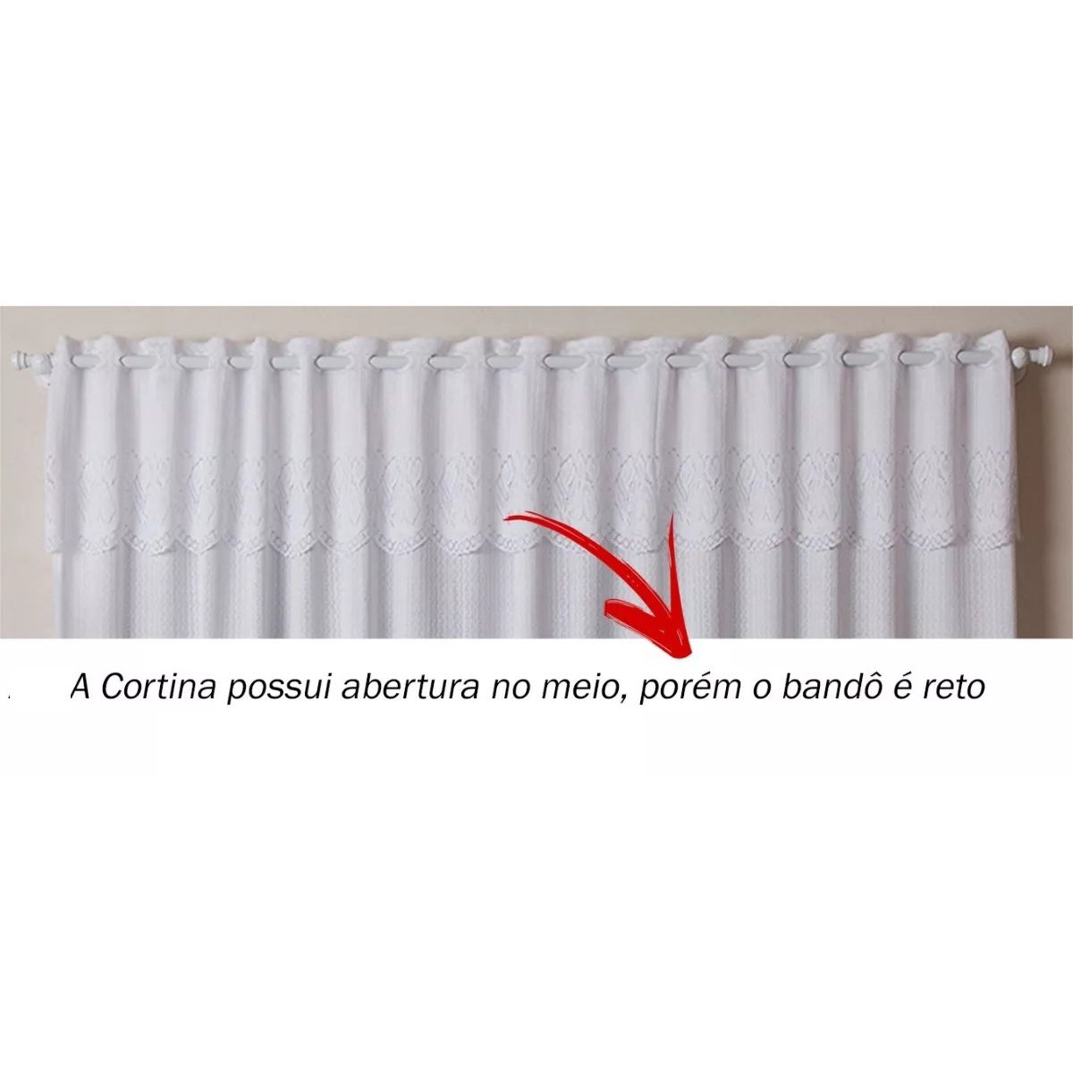 Cortina para Cozinha Renda Branca 2,20x1,20m Arabesco c/ Bandô
