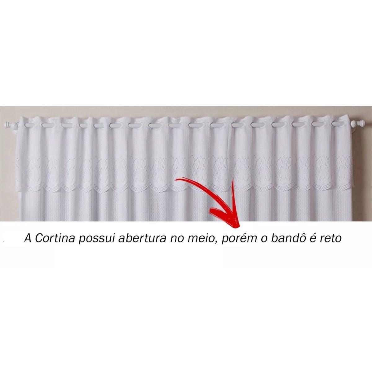 Cortina para Cozinha Renda Branca 2,20x1,20m Tulipinhas c/ Bandô