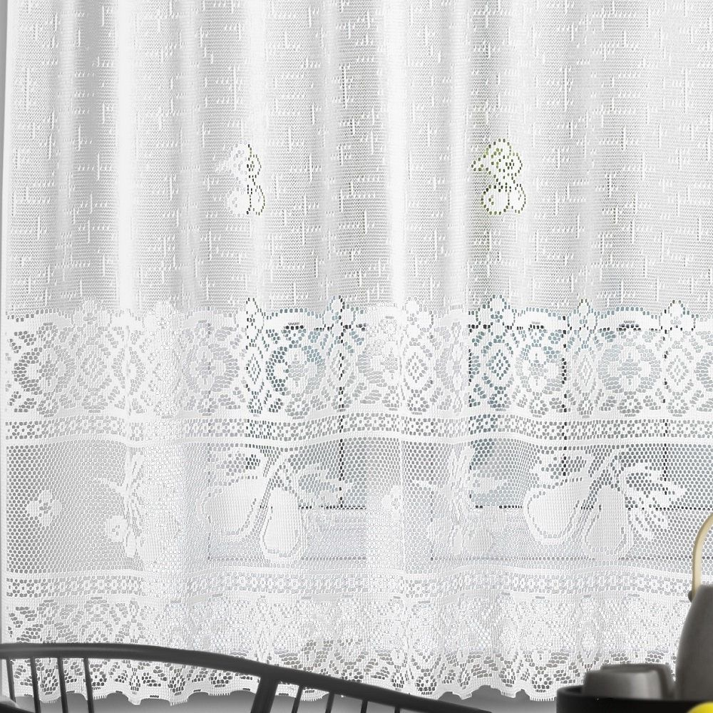 Cortina para Cozinha Renda Branca Lisa 2,00x1,20m Pera c/ Bandô