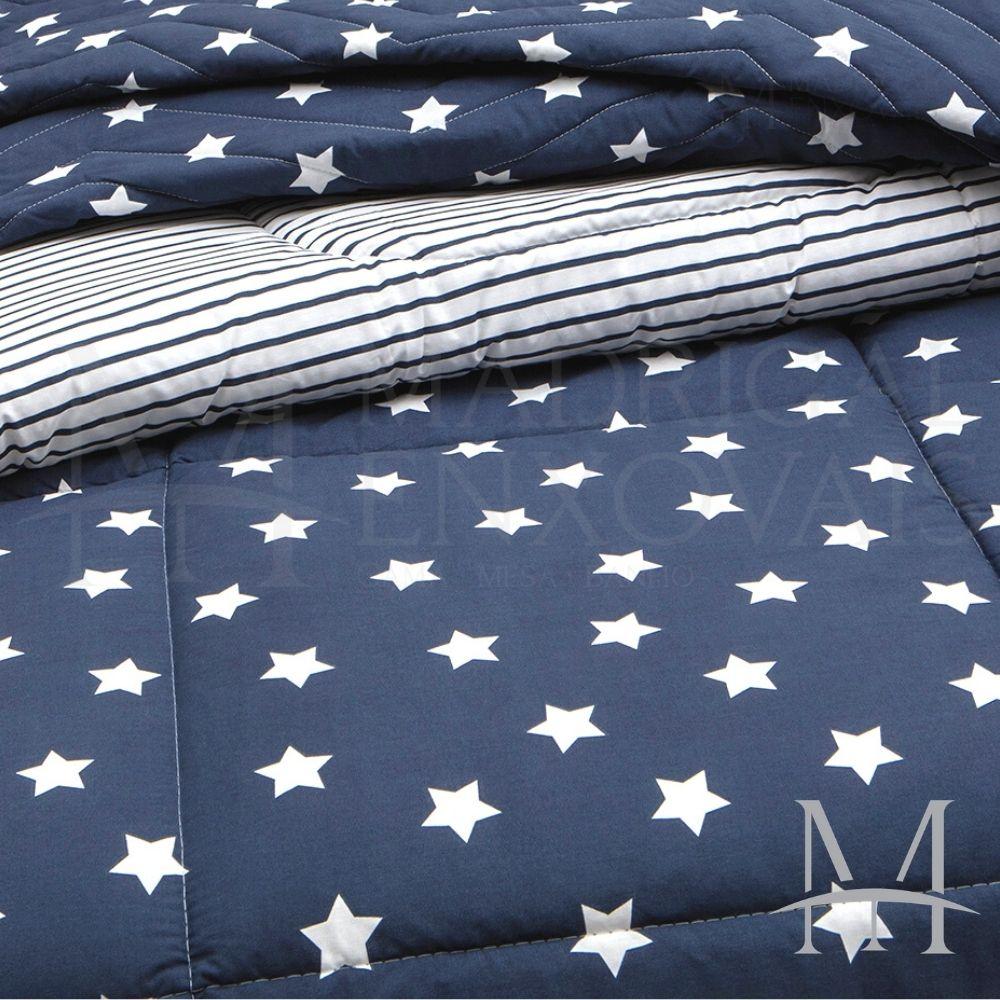 Edredom Casal 200 Fios Kacyumara Vida Bela Vintage Star Azul