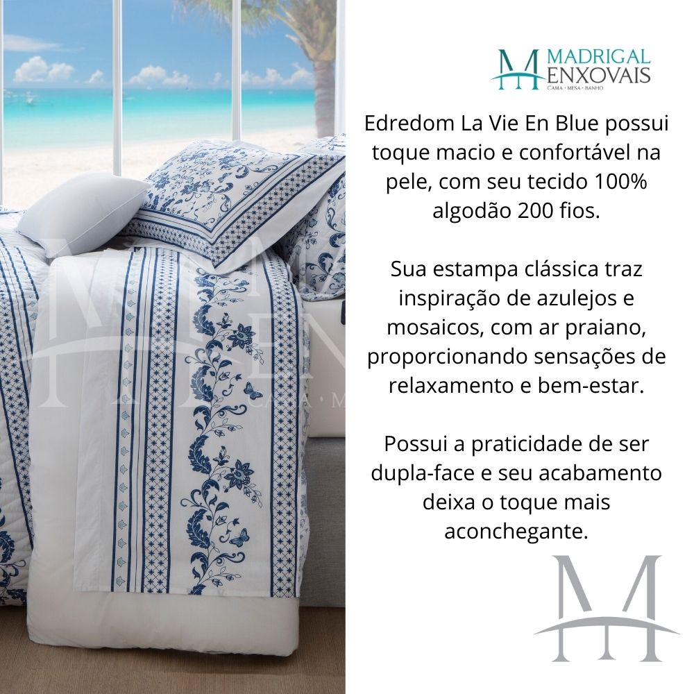 Edredom Casal 200 Fios Naturalle Extra Macio La Vie En Blue