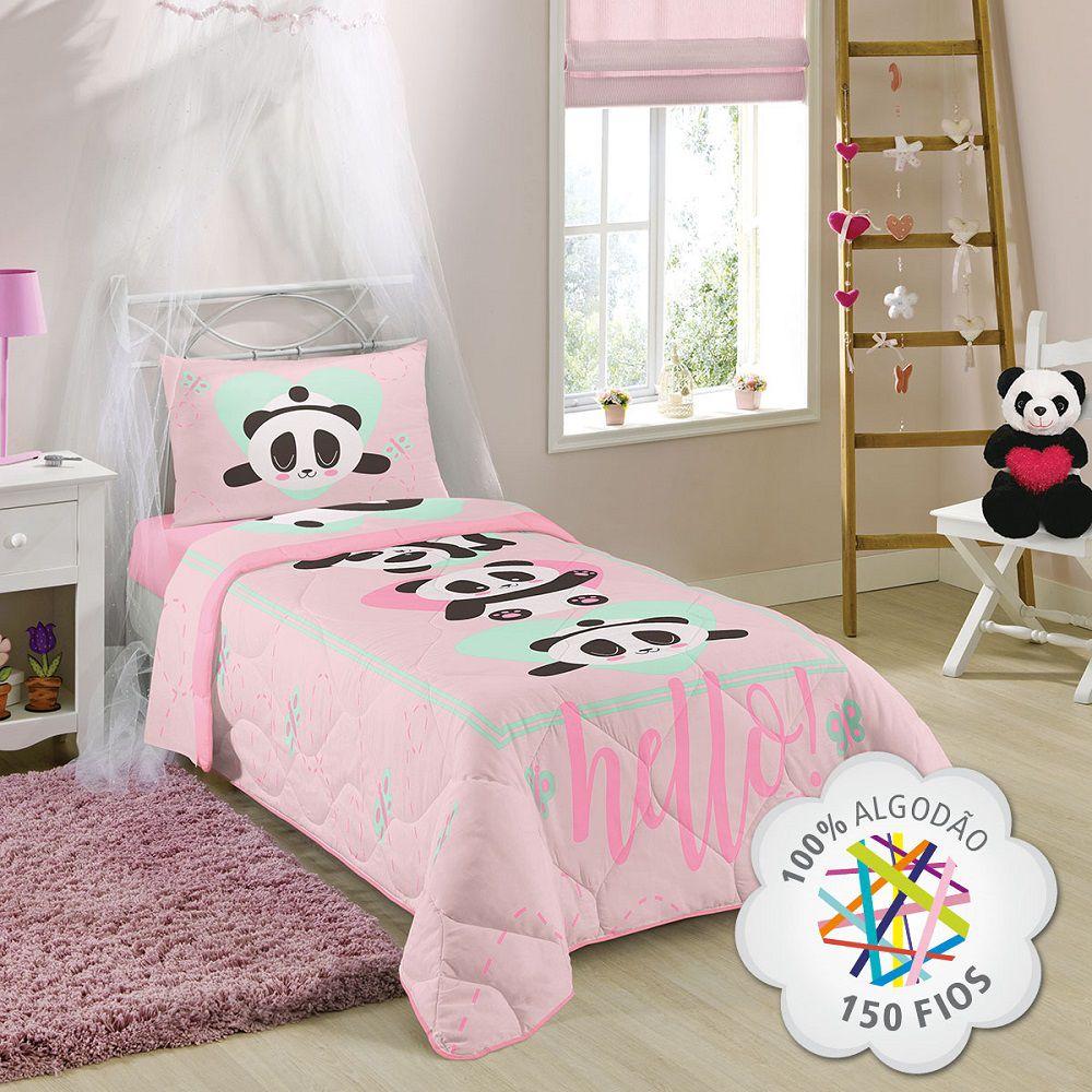 Edredom Infantil Solteiro 100% Algodão 150 Fios Panda Lepper