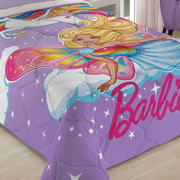 Edredom Infantil Solteiro Barbie Unicórnio 1,50x2,00m Lepper