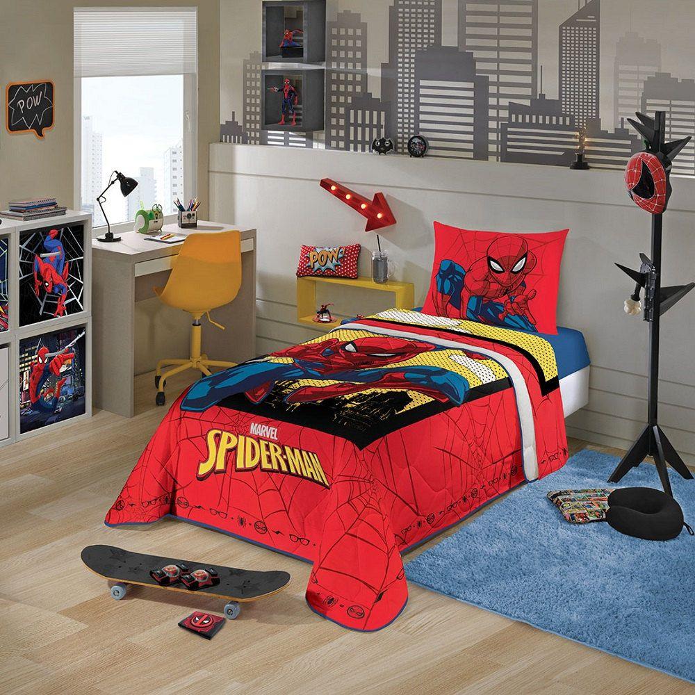 Edredom Infantil Solteiro Homem Aranha Spider Man Lepper