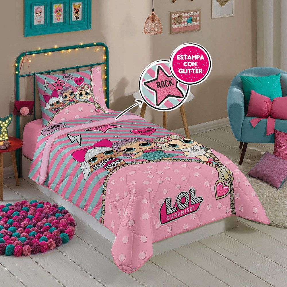 Edredom Infantil Solteiro LOL Surprise Estampado Lepper