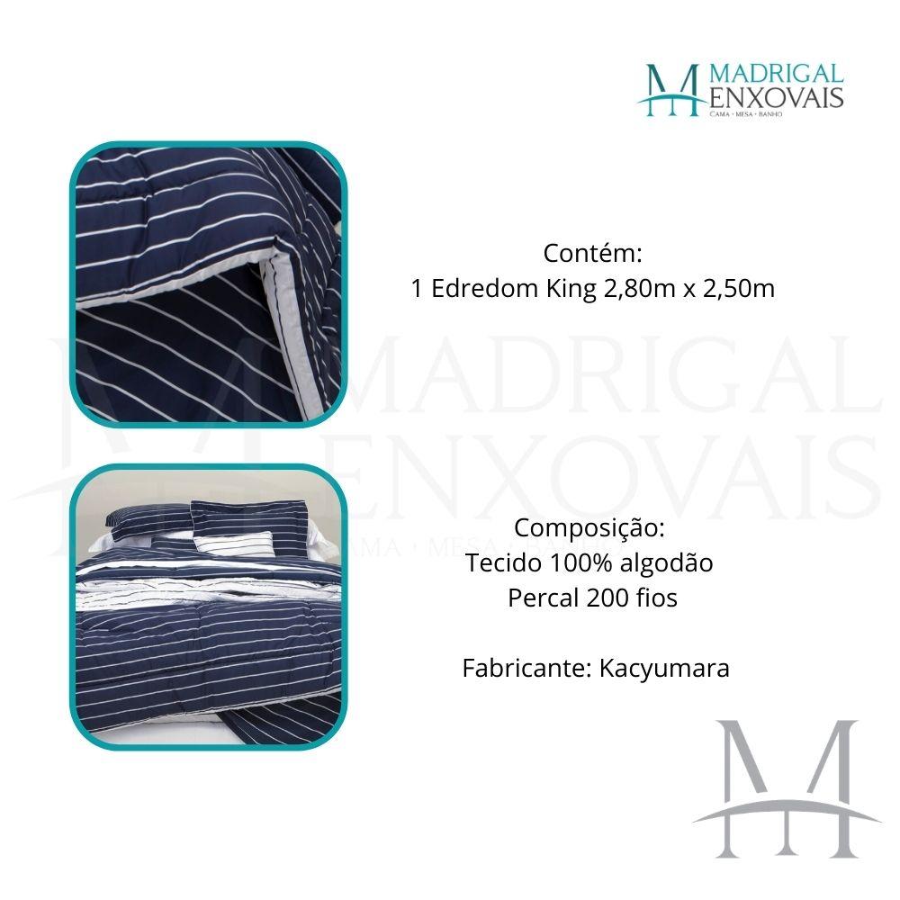 Edredom King 200 Fios Kacyumara Vida Bela Vintage Listras Azul