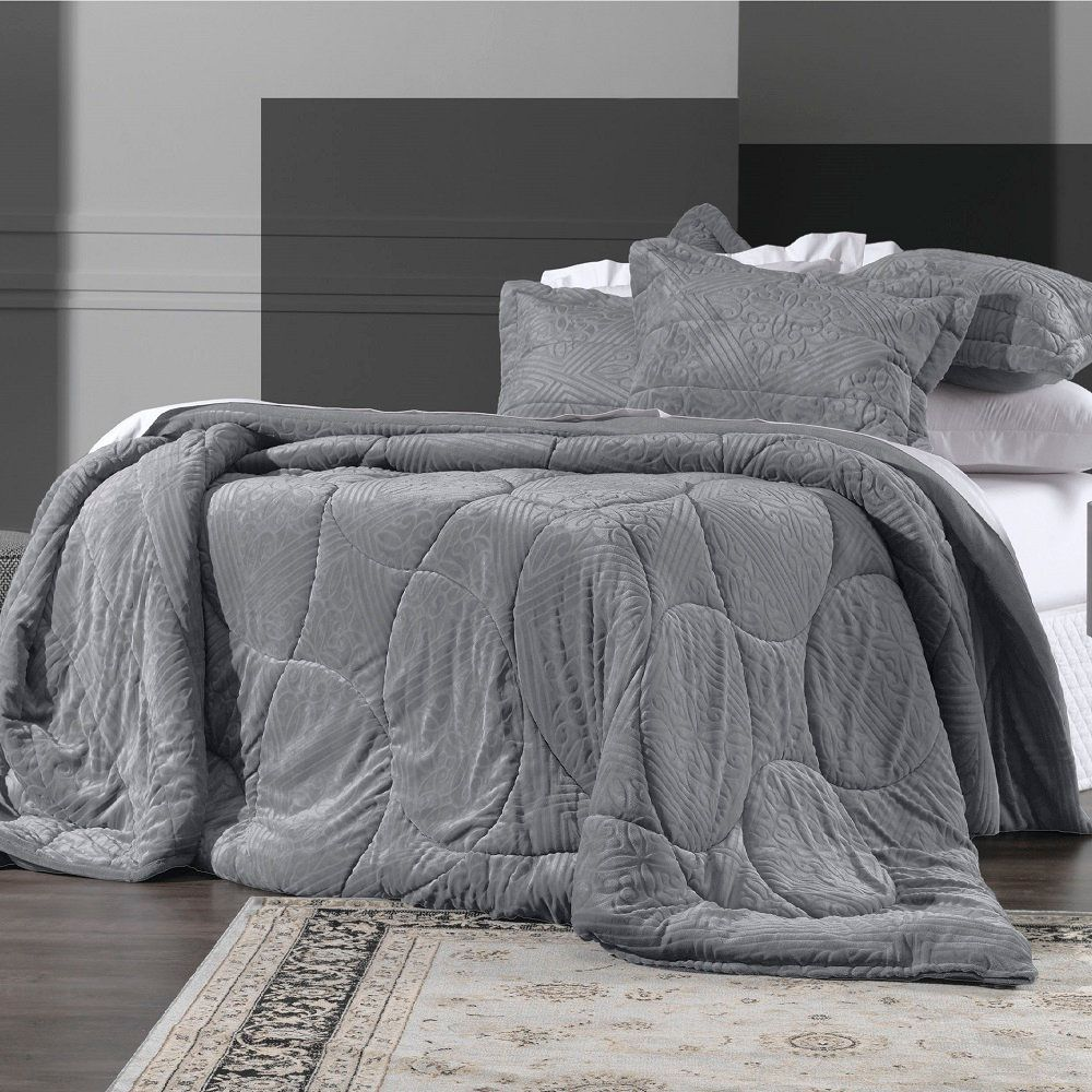 Edredom King Altenburg Blend Elegance Plush Monumental Cinza