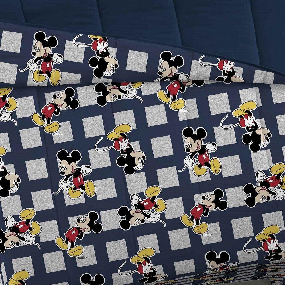 Edredom Queen Malha Portallar Dupla Face Mickey Marinho