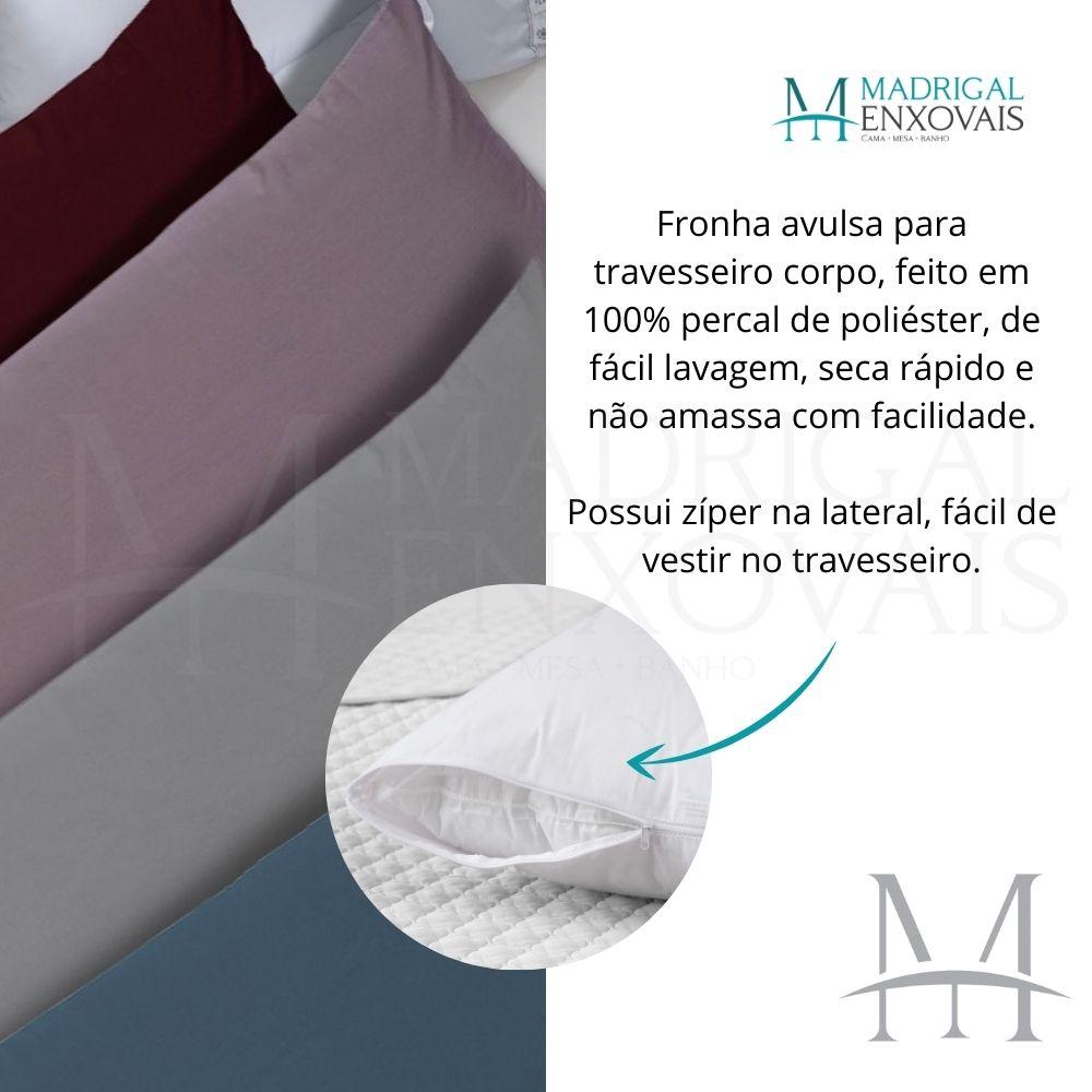 Fronha Avulsa P/ Travesseiro Corpo 0,50x1,50m Lisa com Zíper