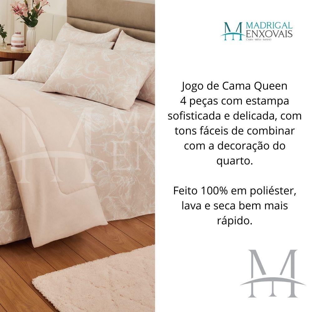 Jogo Cama Queen Casa com Casa 04 Peças Microfibra Rosa Real