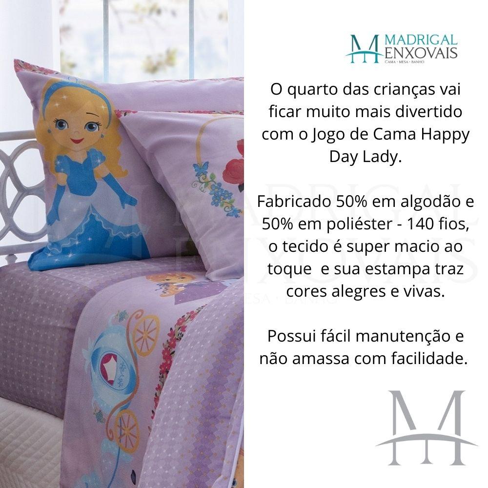 Jogo Cama Solteiro Happy Day Sultan 03 Peças Lady 140 Fios