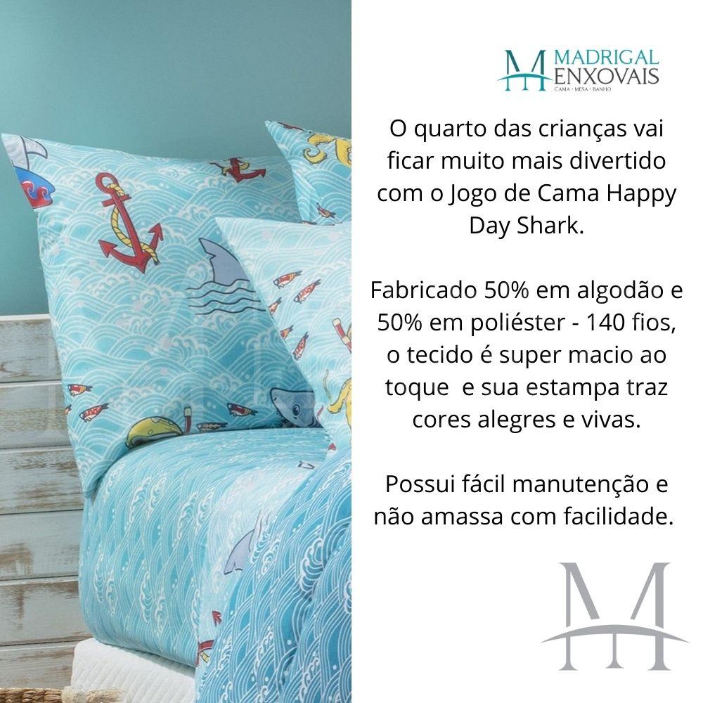 Jogo Cama Solteiro Happy Day Sultan 03 Peças Shark 140 Fios