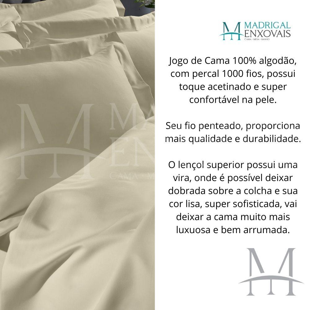 Jogo de Cama Casal 1000 Fios Buettner Luxo 04 Peças Pérola