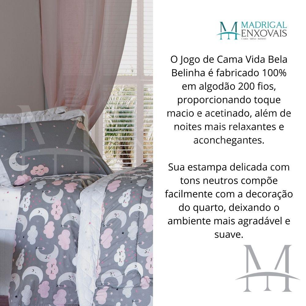 Jogo de Cama Casal 200 Fios Kacyumara 04 Peças Vida Bela Belinha