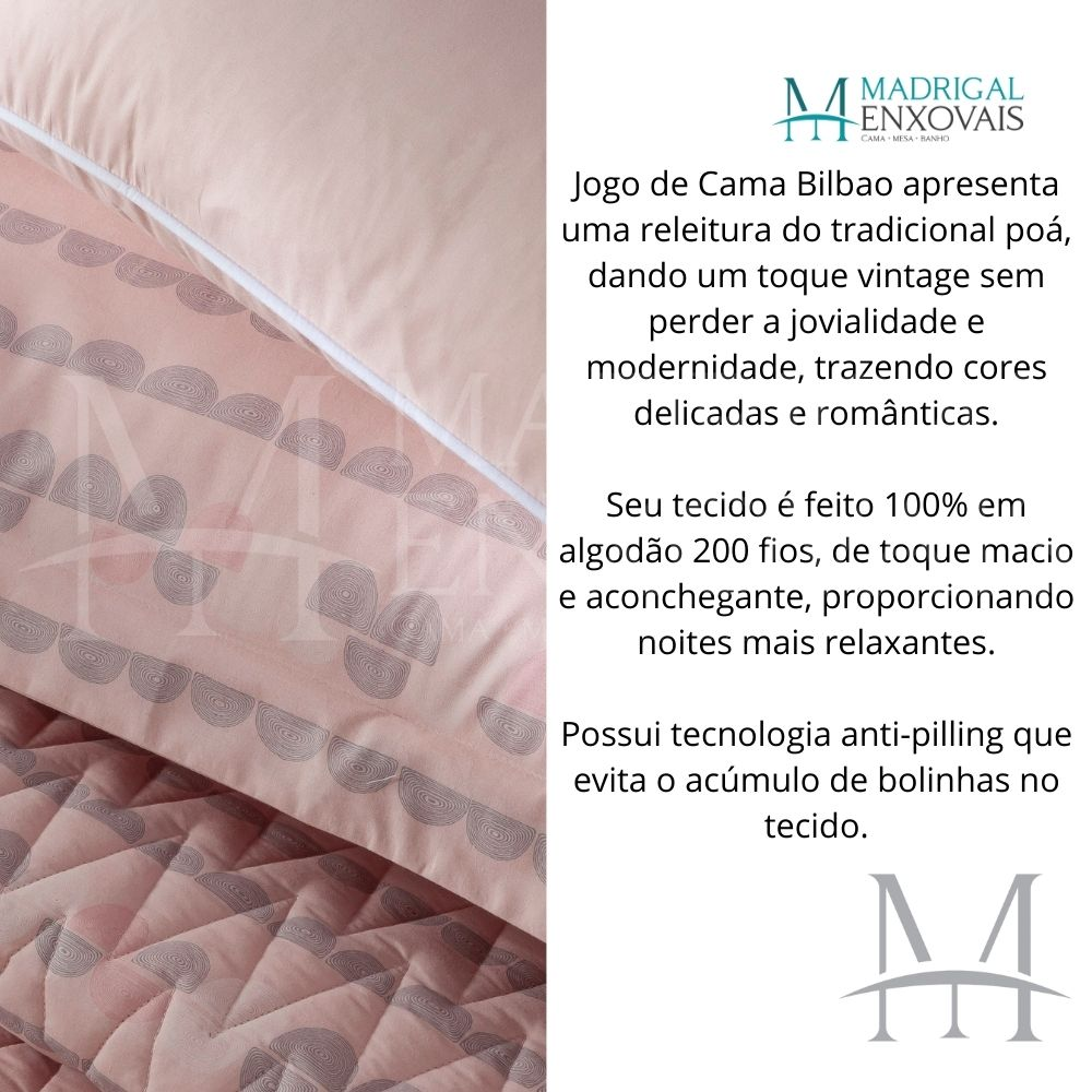Jogo de Cama Casal Percal 200 Fios Naturalle 04 Peças Bilbao