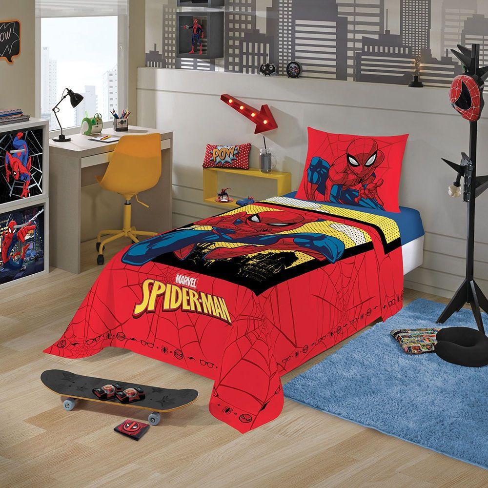 Jogo de Cama Infantil Homem Aranha 02 Peças Lepper 1,50x2,10m