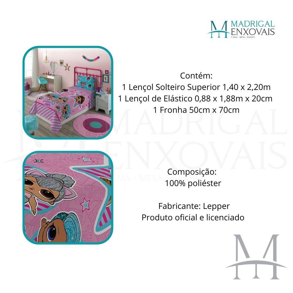 Jogo de Cama Infantil LOL Surprise Lepper 03 Peças Microfibra