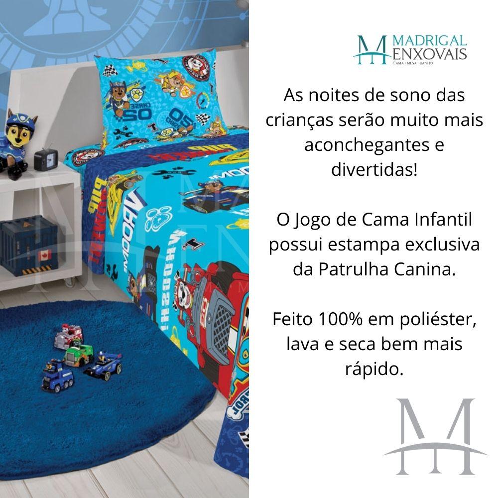 Jogo de Cama Infantil Patrulha Canina Lepper 02 Peças Microfibra