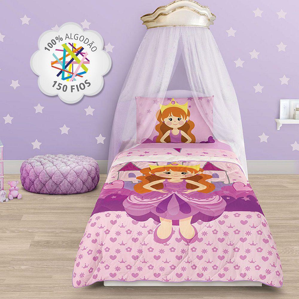 Jogo de Cama Infantil Princesa 03 Peças 100% Algodão Lepper