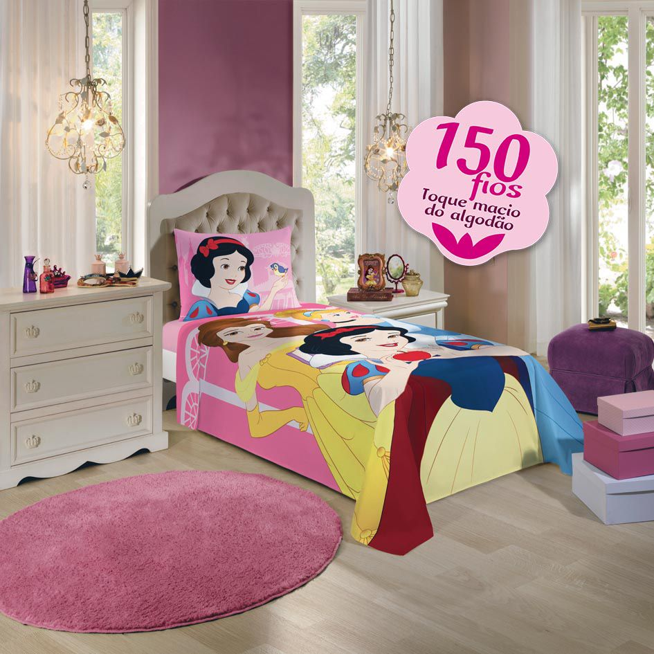 Jogo De Cama Infantil Princesas 03 Peças Lepper 1,50x2,10m