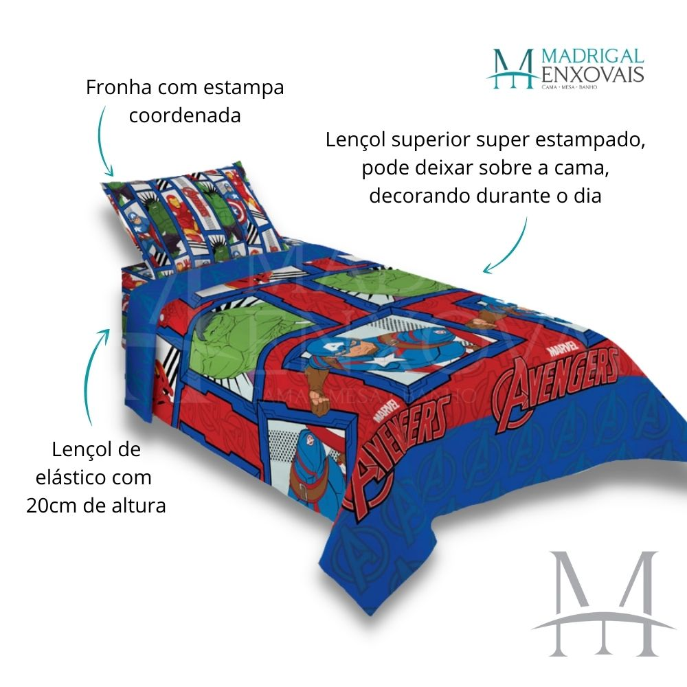 Jogo de Cama Infantil Vingadores Lepper 03 Peças Microfibra