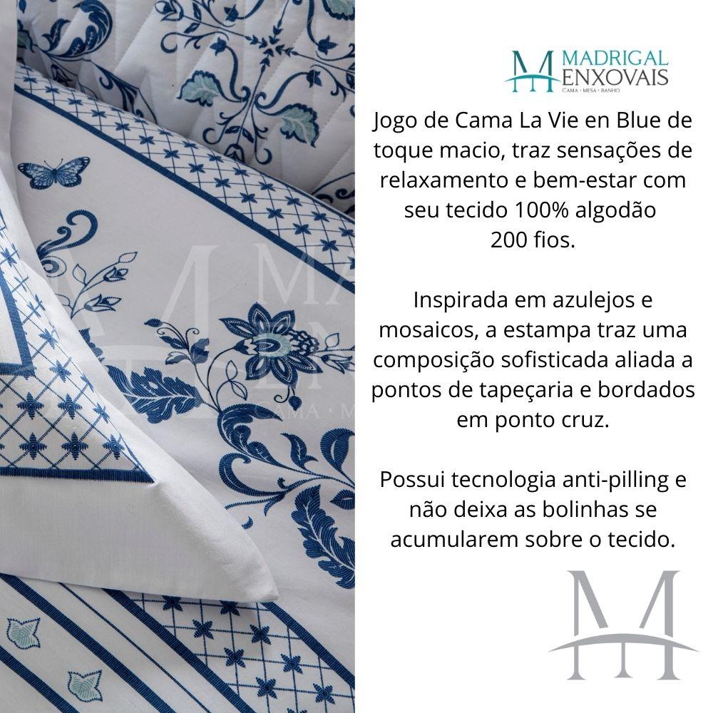 Jogo de Cama King 200 Fios Naturalle 04 Peças La Vie En Blue