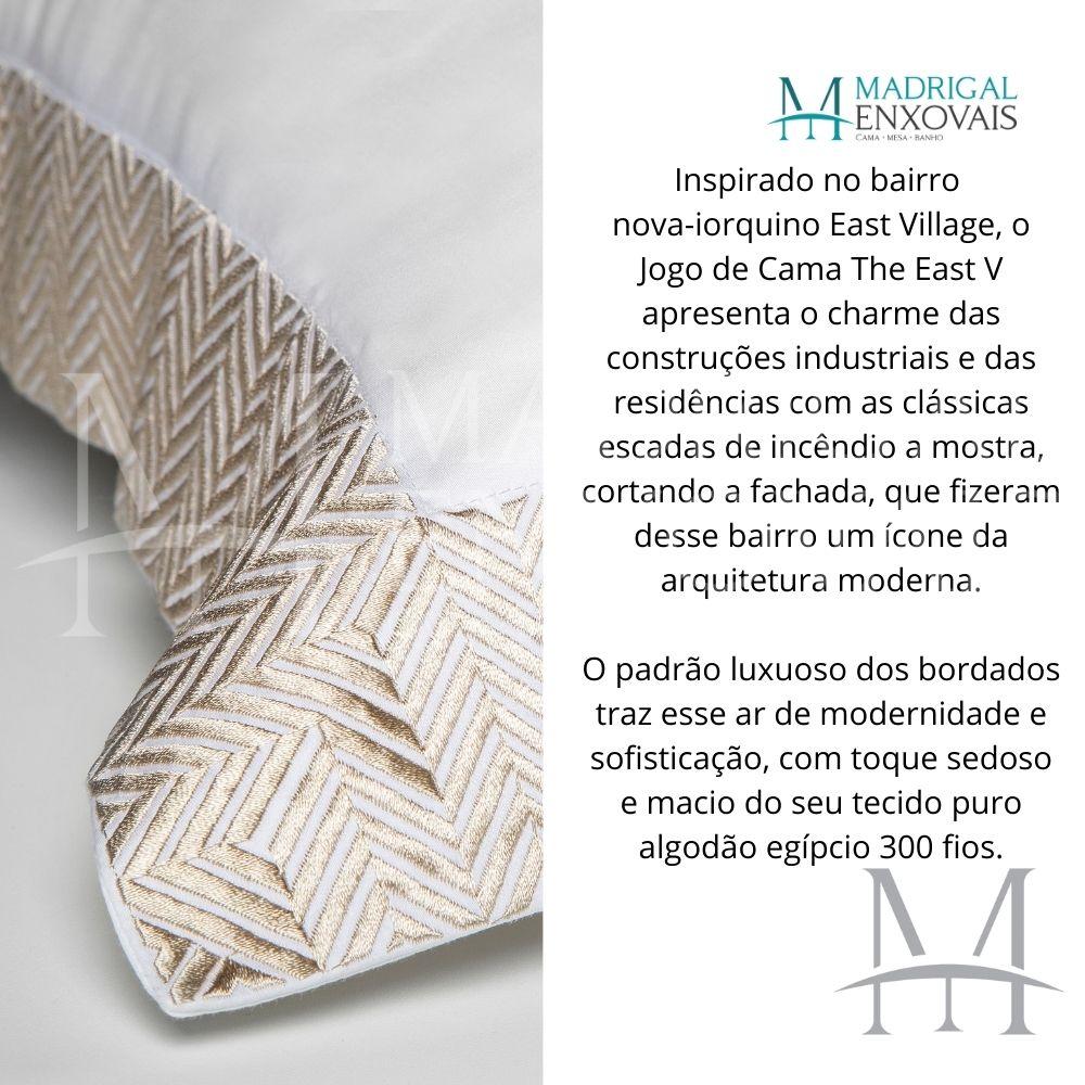 Jogo de Cama King 300 Fios Bordado By The Bed 04 Peças The East Bege