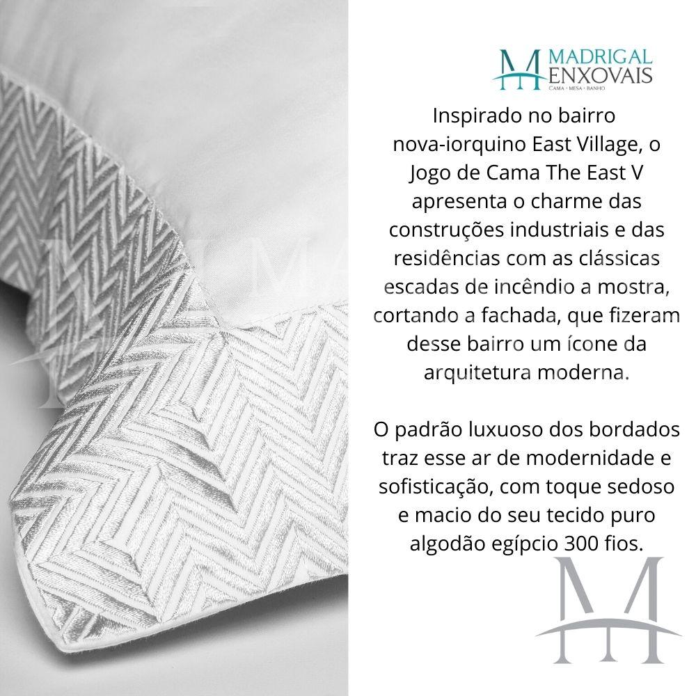 Jogo de Cama King 300 Fios Bordado By The Bed 04 Peças The East Branco
