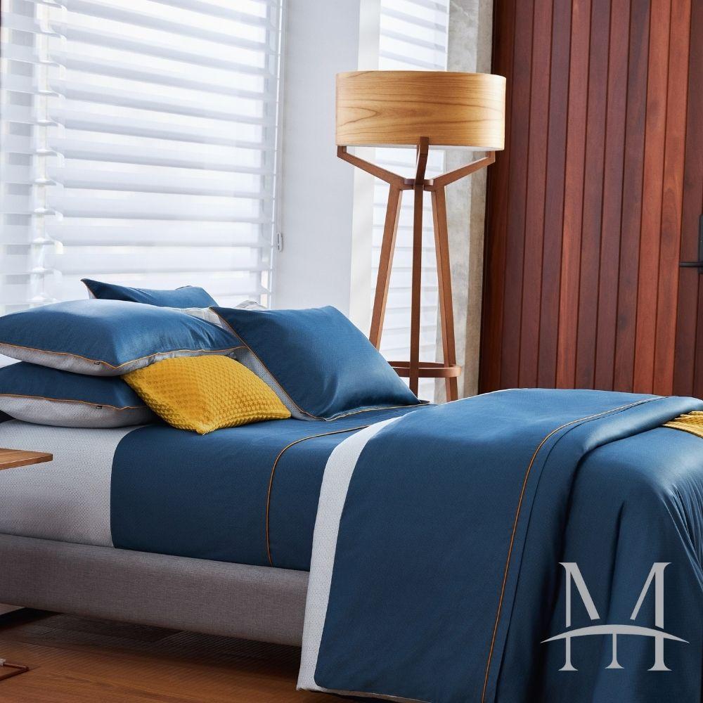 Jogo de Cama King 300 Fios By The Bed 04 Peças The Hustle Azul