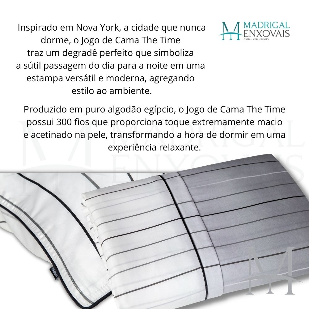 Jogo de Cama King 300 Fios By The Bed 04 Peças The Time Cinza