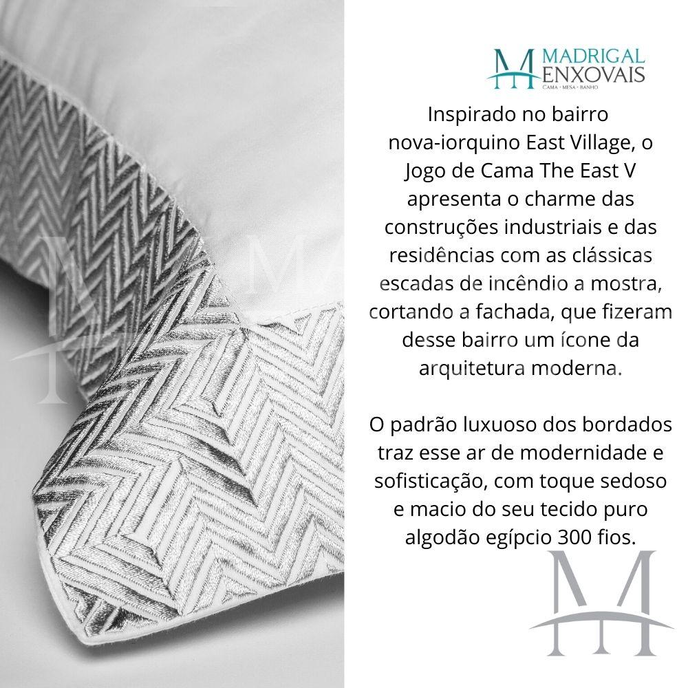 Jogo de Cama Queen 300 Fios Bordado By The Bed 04 Peças The East Cinza