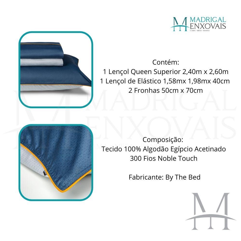 Jogo de Cama Queen 300 Fios By The Bed 04 Peças The Hustle Azul