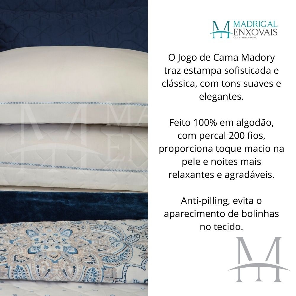 Jogo de Cama Solteiro 200 Fios Kacyumara Vida Bela 03 Peças Madory