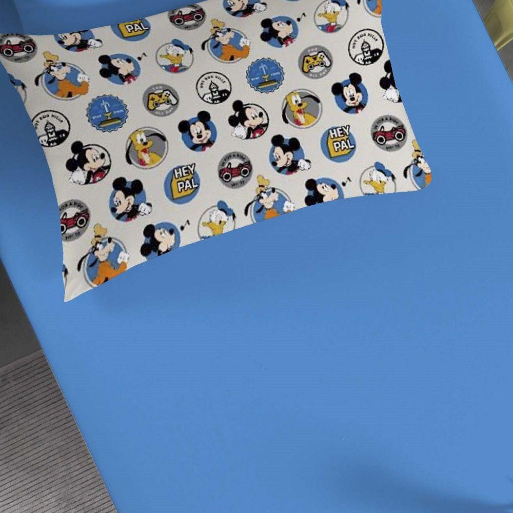 Jogo de Cama Solteiro Malha 02 Peças Portallar Amigos do Mickey