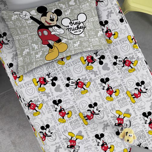 Jogo de Cama Solteiro Malha 02 Peças Portallar Mickey Fun