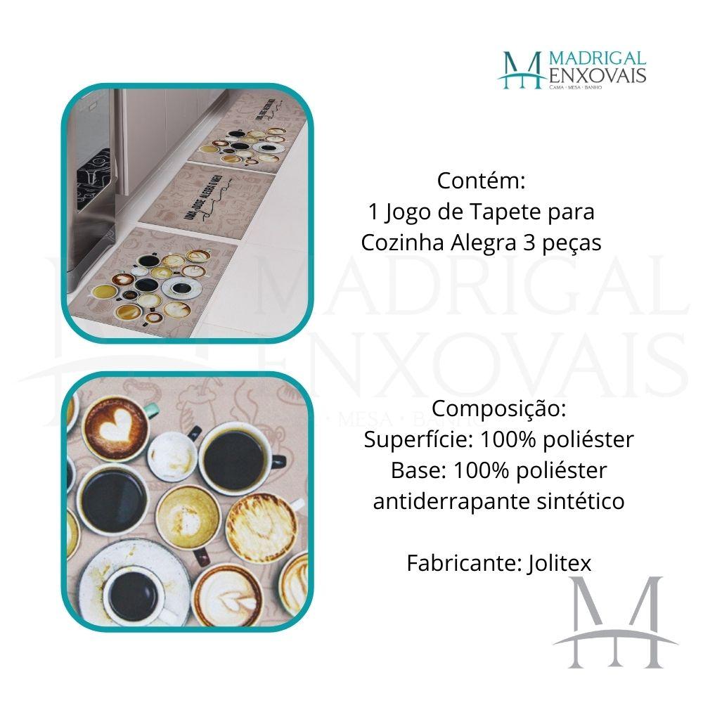 Jogo de Tapete Cozinha Jolitex Allegra 03 Peças Café